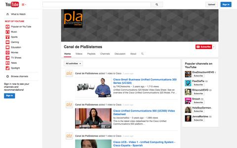 Screenshot of YouTube Page youtube.com - Canal de PlaSistemes  - YouTube - captured Oct. 22, 2014