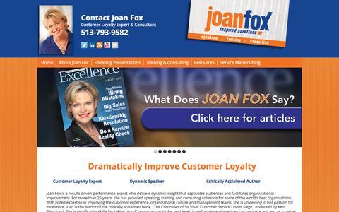 Screenshot of Home Page joanfox.com - Home - JoanFox.com - captured Jan. 23, 2015