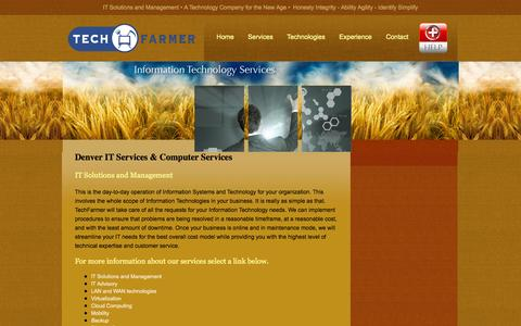 Screenshot of Services Page techfarmer.com - Denver IT Services & Technology Consultants | TechFarmer - captured Sept. 26, 2014