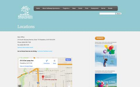 Screenshot of Locations Page hathaway-sycamores.org - Locations   Hathaway-Sycamores - captured Oct. 2, 2014