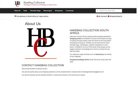 Screenshot of About Page handbag-collection.co.za - About Us - Handbag Collection - captured Nov. 2, 2014