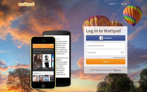 Screenshot of Login Page wattpad.com - Wattpad - Discover a World of Unlimited Stories - captured Sept. 30, 2015