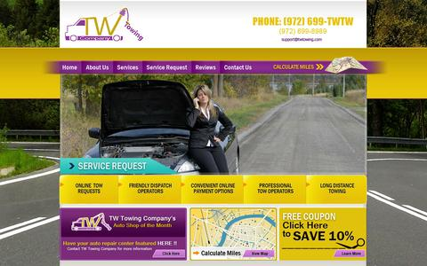 Screenshot of Home Page twtowing.com - TW Towing Services Company | Garland, Dallas - captured Oct. 6, 2014