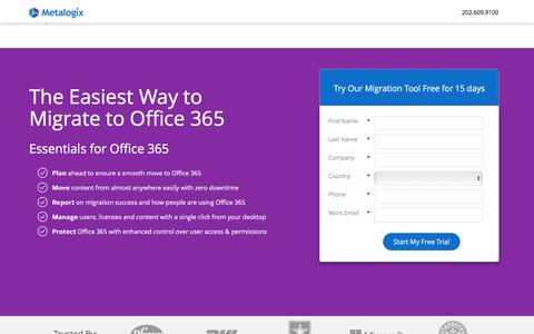 Screenshot of Landing Page metalogix.com - The Easiest Way to Migrate to Office 365 - captured Feb. 19, 2017