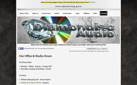 Screenshot of Hours Page diamondiscaudio.com - Our Office & Studio Hours - captured June 18, 2016