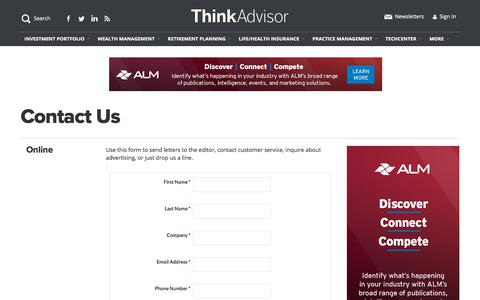 Screenshot of Contact Page thinkadvisor.com - Contact Us | ThinkAdvisor - captured Jan. 19, 2020
