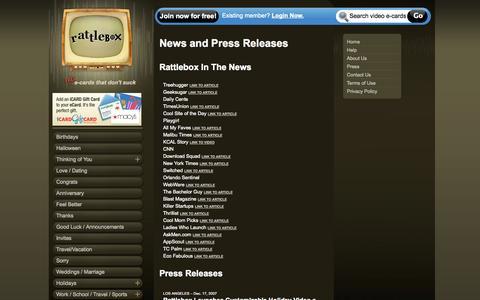 Screenshot of Press Page rattlebox.com captured Nov. 2, 2014