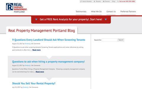 Screenshot of Blog realpropertymanagementportland.com - Portland OR Property Management Blog   Real Property Management Portland - captured Oct. 20, 2017