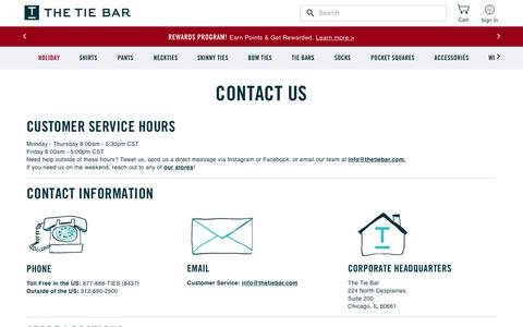 Screenshot of Contact Page thetiebar.com - Contact & Customer Service Info | The Tie Bar - captured Nov. 18, 2019