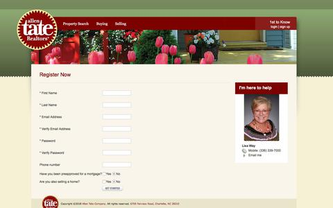 Screenshot of Signup Page allentate.com - Lisa Way - 1st to Know Real Estate Search Service - captured Feb. 3, 2018