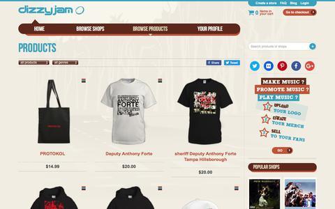 Screenshot of Products Page dizzyjam.com - Products at Dizzyjam - captured July 13, 2018