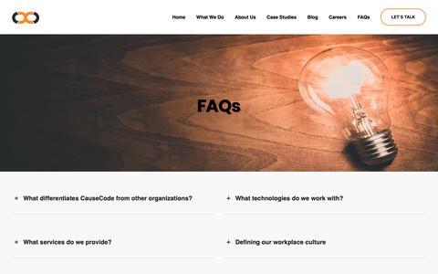 Screenshot of FAQ Page causecode.com - FAQs | CauseCode Technologies Pvt. Ltd. - captured Sept. 27, 2018