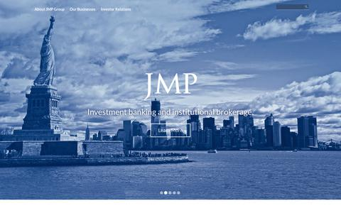 Screenshot of Home Page jmpg.com - JMP Group LLC | Diversified in the pursuit of growth - captured Sept. 24, 2018