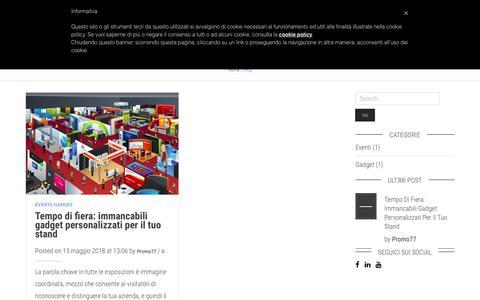 Screenshot of Blog promo77.com - Il Blog di Promo77   Non solo gadget personalizzati - captured Sept. 25, 2018