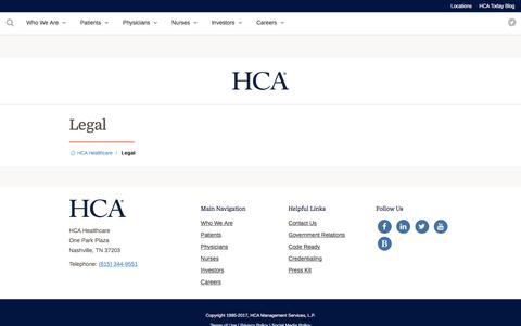 Screenshot of Privacy Page Terms Page hcahealthcare.com - Legal | HCA Healthcare - captured July 28, 2017