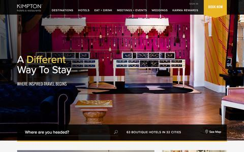 Screenshot of Home Page kimptonhotels.com - Best-Loved Boutique Hotels + Restaurants | Travel in Kimpton Style - captured Feb. 12, 2016