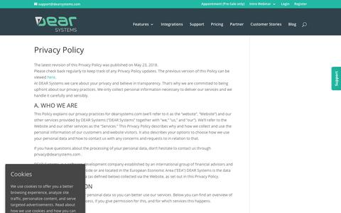 Screenshot of Privacy Page dearsystems.com - Privacy Policy | DEAR Cloud Inventory Management - captured Oct. 7, 2018