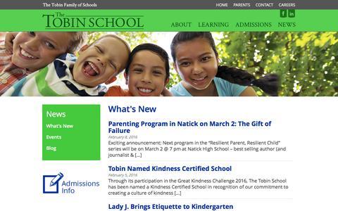 Screenshot of Press Page thetobinschool.org - What's New - The Tobin School - captured Feb. 28, 2016