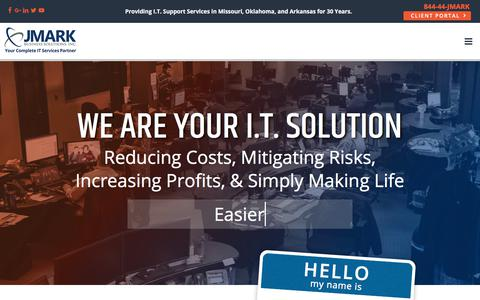 Screenshot of Home Page jmark.com - JMARK Business Solutions - IT Support, IT Services, Managed Services - captured July 21, 2018
