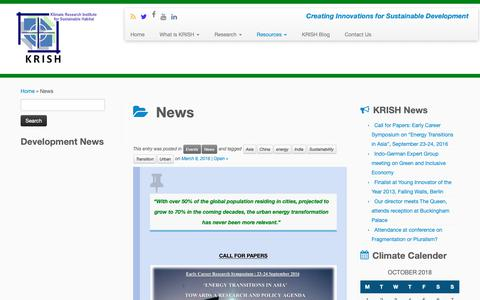 Screenshot of Press Page krish-in.org - News Archives - KRISH - captured Oct. 14, 2018