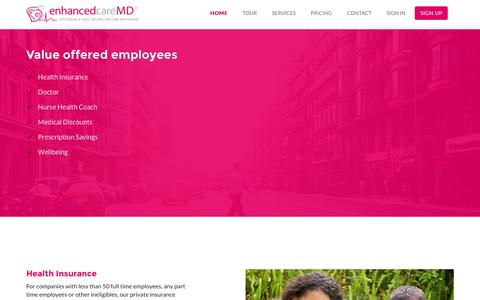 Screenshot of Services Page enhancedcaremd.com - Services | enhancedcareMD - captured July 18, 2016