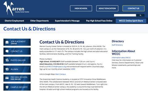 Screenshot of Contact Page Maps & Directions Page mywccc.org - Contact Us & Directions - captured Oct. 19, 2018