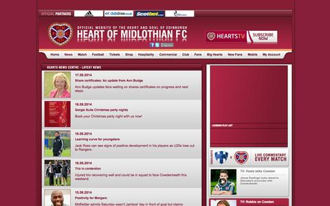 Screenshot of Press Page heartsfc.co.uk - Watch live: Hearts v St. Mirren | Hearts News | News | Hearts | Hearts - captured Sept. 19, 2014