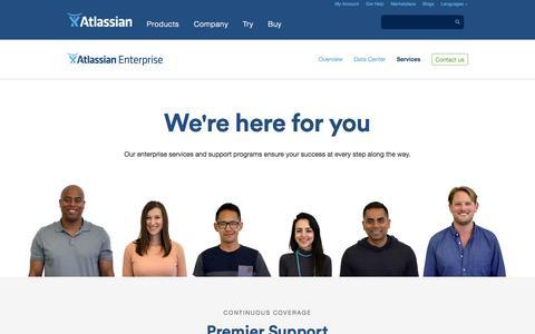 Screenshot of Services Page atlassian.com - Atlassian for Enterprise Services | Atlassian - captured Oct. 28, 2014