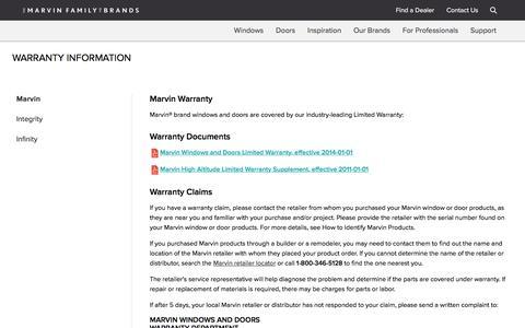 Screenshot of Support Page marvin.com - Window & Patio Door Warranty Information - Marvin Family of Brands - captured Nov. 12, 2017