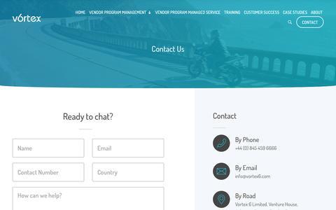 Screenshot of Contact Page vortex6.com - Contact Vortex 6 For Vendor Partner Program Compliance - captured Nov. 5, 2017