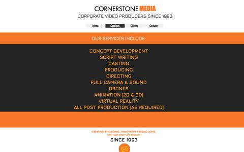 Screenshot of Services Page cornerstonemedia.com.au - Cornerstone Media | Services - captured Dec. 15, 2018