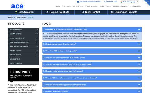 Screenshot of FAQ Page armaturecoil.com - FAQ | Armature Coil Equipment - captured Oct. 6, 2017