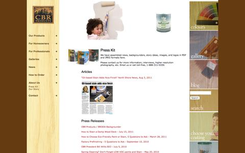 Screenshot of Press Page cbrproducts.com - Wood stain articles: how to stain a deck, how to refinish logs + + +   CBR Products - captured Dec. 5, 2015