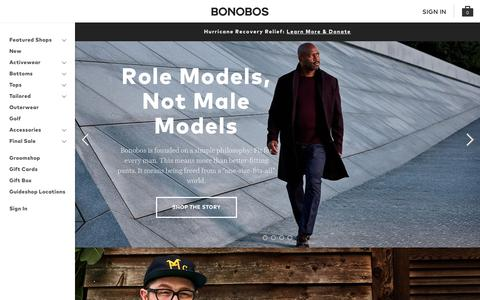 Screenshot of Home Page bonobos.com - Better-Fitting, Better-Looking Men's Clothing & Accessories | Bonobos - captured Oct. 6, 2017
