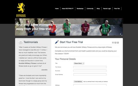 Screenshot of Trial Page scotmilfit.com - FREE TRIAL at Scottish Military Fitness | SCOTMILFIT - captured Oct. 6, 2014