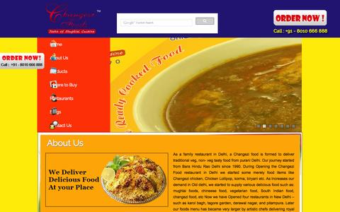 Screenshot of About Page changezifoods.com - About US of Changezi restaurants | Order Online Food Now in Delhi - captured Oct. 2, 2014