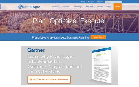Screenshot of Home Page riverlogic.com - Integrated Business Planning and Prescriptive Analytics | River Logic - captured Jan. 12, 2016