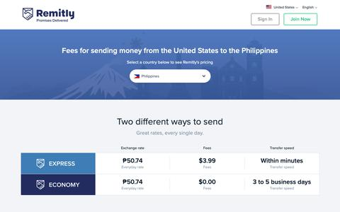 Screenshot of Pricing Page remitly.com - US Dollar to Philippine Peso Exchange Rate - captured April 8, 2019