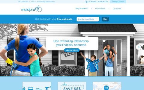Screenshot of Home Page maidpro.com - House Cleaning & Maid Service | Home Cleaning | MaidPro - captured Sept. 19, 2014