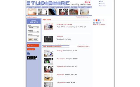 Screenshot of Home Page studiohire.com - Studio Rental and Hire - captured Oct. 3, 2014