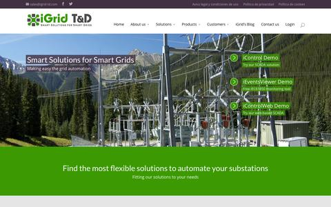 Screenshot of Home Page igrid-td.com - Substation automation systems & Grid solutions | iGrid - captured Sept. 7, 2015
