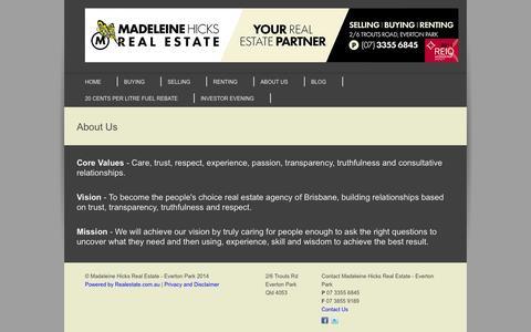 Screenshot of About Page madeleinehicks.com.au - About Us - Madeleine Hicks Real Estate - Everton Park - captured Oct. 4, 2014