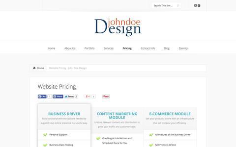 Screenshot of Pricing Page johndoedesign.com - Website Pricing - John Doe Design | John Doe Design - captured Sept. 30, 2014
