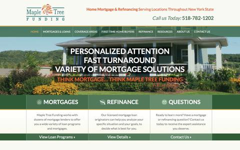 Screenshot of Home Page mapletreefunding.com - Experienced NY Mortgage Brokers: Mortgages from Maple Tree Funding - captured Sept. 20, 2018