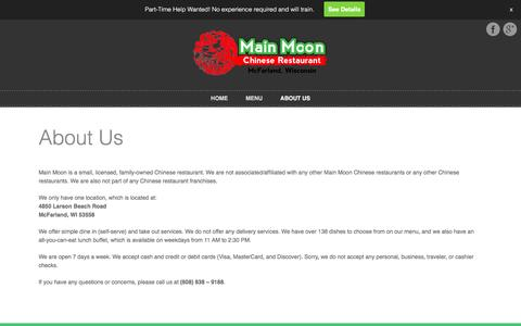 Screenshot of About Page mainmoonrestaurant.com - About Us  |   Main Moon Chinese Restaurant – McFarland, Wisconsin - captured Feb. 4, 2016