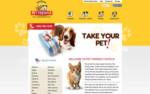 Screenshot of Home Page pet-friendly-hotels.net - Pet Friendly Hotels: Find a Pet Friendly Hotel and Lodging for the Pet Friendly Family - captured July 1, 2017