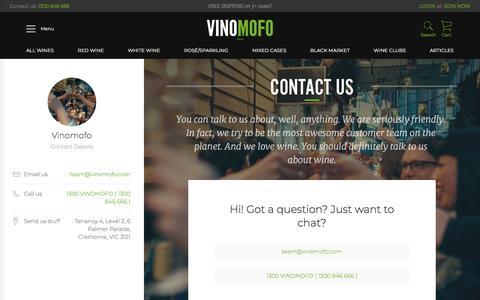 Screenshot of Contact Page vinomofo.com - Vinomofo - Contact Our Team - captured May 14, 2018