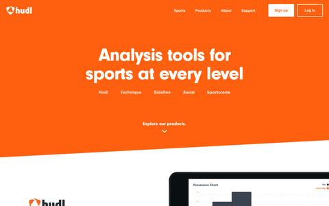Screenshot of Products Page hudl.com - Performance analysis tools for sports at every level | Hudl - captured Oct. 21, 2016