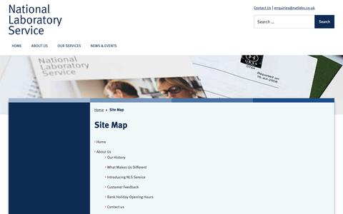 Screenshot of Site Map Page natlabs.co.uk - Site Map – NatLabs - captured Oct. 18, 2018