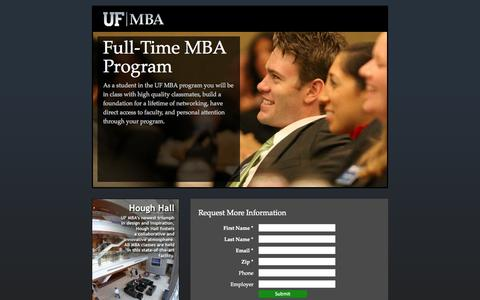 Screenshot of Landing Page ufl.edu - Traditional MBA | UF MBA | Warrington - captured Oct. 27, 2014